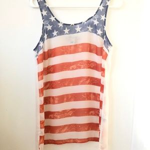FOREVER 21 American Flag Tank Top | Women's Size S